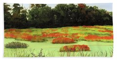 Mud Lake Marsh Beach Towel by Lynne Reichhart