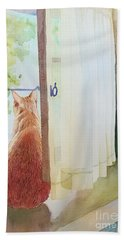 Muffin At Window Beach Towel