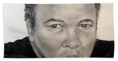 Beach Towel featuring the drawing Muhammad Ali Formerly Known As Cassius Clay by Jim Fitzpatrick