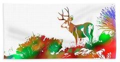 Mule Deer Buck Skyline Drip Pop Art II Beach Towel