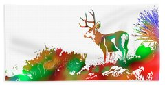 Mule Deer Buck Skyline Drip Pop Art II Beach Sheet