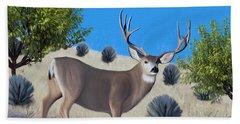 Mule Deer Trophy Buck Beach Towel by Walter Colvin