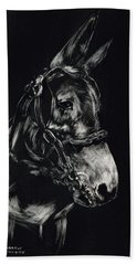Mule Polly In Black And White Beach Towel