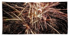 Beach Towel featuring the photograph Multi Blast Fireworks #0721 by Barbara Tristan