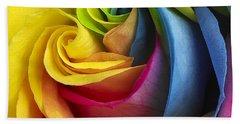 Rainbow Rose Beach Towel