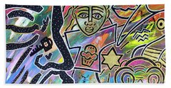 Multi-dimensional Beings Stepping Out The Body Walking Through The Cosmos Beach Towel