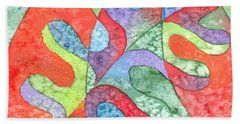 Beach Towel featuring the painting Multicolor Oak Leaf by Kristen Fox