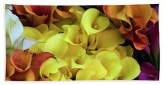 Multicolored Calla Lillies Beach Towel