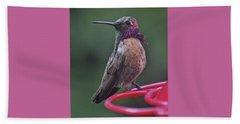Multicolored Male Anna's Hummingbird Beach Towel by Jay Milo