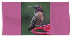 Multicolored Male Anna's Hummingbird Beach Sheet by Jay Milo