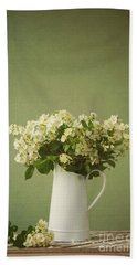 Multiflora Rose In A Rustic Vase Beach Sheet