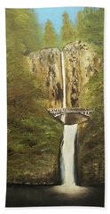 Beach Towel featuring the mixed media Multnomah Falls by Angela Stout