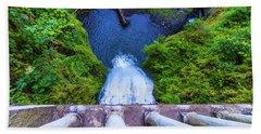 Beach Towel featuring the photograph Multnomah Falls Bridge by Jonny D