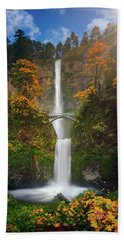 Multnomah Falls In Autumn Colors -panorama Beach Towel