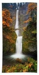 Multnomah Falls In Autumn Colors Beach Towel