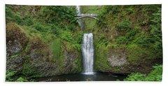 Multnomah Falls In Spring Beach Sheet by Greg Nyquist