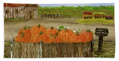 Mum And Pumpkin Harvest Beach Towel