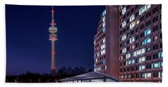 Munich - Olympictower And Village Beach Towel by Hannes Cmarits