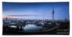 Beach Sheet featuring the photograph Munich - Watching The Sunset At The Olympiapark by Hannes Cmarits