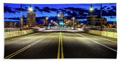 Beach Towel featuring the photograph Murray Morgam Bridge During Blue Hour In Hdr by Rob Green