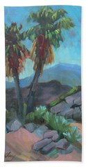 Beach Towel featuring the painting Murray Trail Andreas Canyon by Diane McClary
