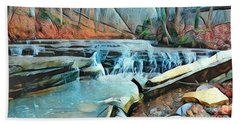 Muscatatuck Falls Touch Of Blue Abstract Beach Towel