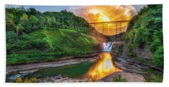 Beach Towel featuring the photograph Mushroom Cloud Over Upper Falls by Mark Papke