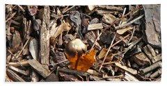 Mushroom With Autumn Leaf Beach Sheet