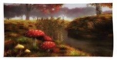Mushrooms And River Beach Towel