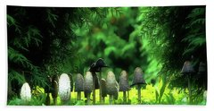 Mushrooms Under The Tree Beach Towel by Odon Czintos