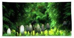 Mushrooms Under The Tree Beach Sheet by Odon Czintos