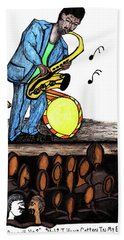 Music Man Cartoon Beach Towel