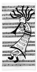 Beach Towel featuring the painting Music Man Kokopelli by Susie WEBER