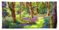 Music Of Light, Bluebell Woods Beach Sheet by Jane Small