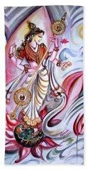 Musical Goddess Saraswati - Healing Art Beach Towel