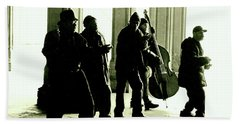 Musicians In The Park Beach Towel by Sandy Moulder