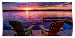 Beach Sheet featuring the photograph Muskoka Chair Sunset by Michaela Preston