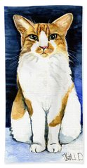 Mustached Bicolor Beauty - Cat Portrait Beach Sheet