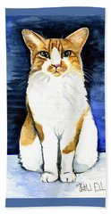 Mustached Bicolor Beauty - Cat Portrait Beach Towel