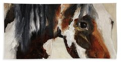 Beach Towel featuring the painting Mustang In My Heart by Barbie Batson