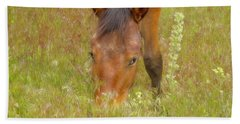 Mustang In The Grass Beach Towel