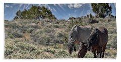 Mustangs In The Sierra Nevada Mountains Beach Sheet