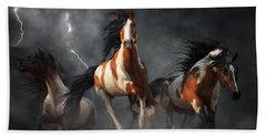 Beach Towel featuring the digital art Mustangs Of The Storm by Daniel Eskridge