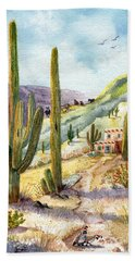Beach Sheet featuring the painting My Adobe Hacienda by Marilyn Smith