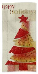 My Christmas Tree 02 - Happy Holidays Beach Towel by Aimelle