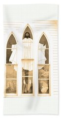 Beach Towel featuring the photograph My Fathers Church Window by Lenore Senior
