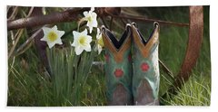 Beach Towel featuring the photograph My Favorite Boots by Benanne Stiens