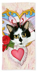 Beach Towel featuring the painting My Feline Valentine Tuxedo Cat by Carrie Hawks
