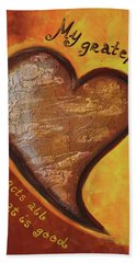 Beach Towel featuring the painting My Grateful Heart by Agata Lindquist