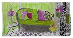 My Happy Place -- Drawing Of Colorful Moroccan Porch Beach Towel